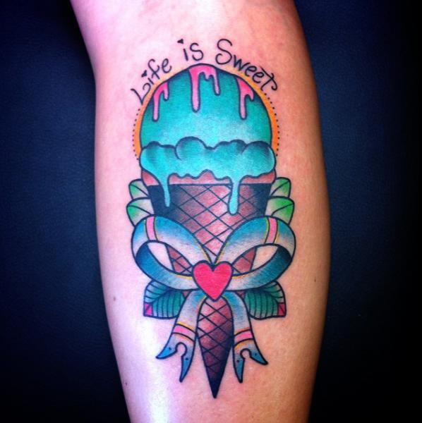 Arm New School Ice Cream Tattoo by Alex Strangler