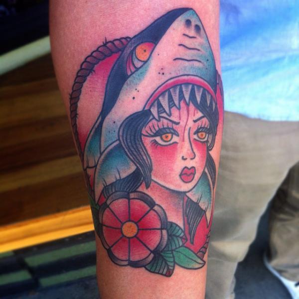 Arm New School Shark Tattoo by Alex Strangler