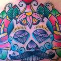 New School Skull Back Diamond tattoo by Alex Strangler