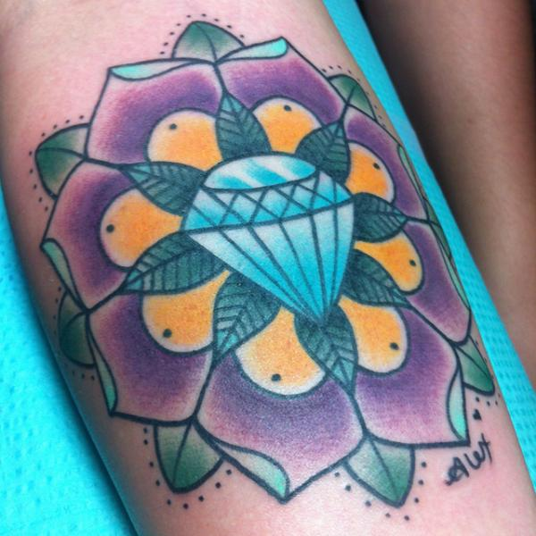 New School Flower Diamond Tattoo by Alex Strangler