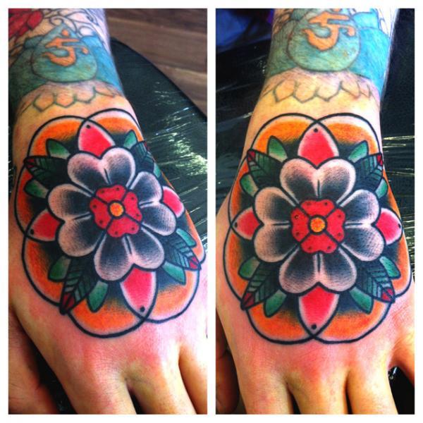 New School Flower Hand Tattoo by Alex Strangler