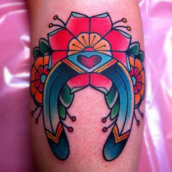 New School Horseshoe Tattoo by Alex Strangler