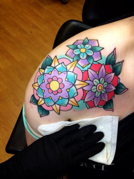 Shoulder New School Flower Tattoo by Alex Strangler