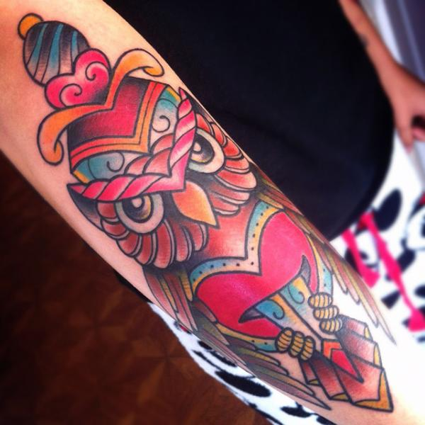 New School Owl Dagger Tattoo by Alex Strangler