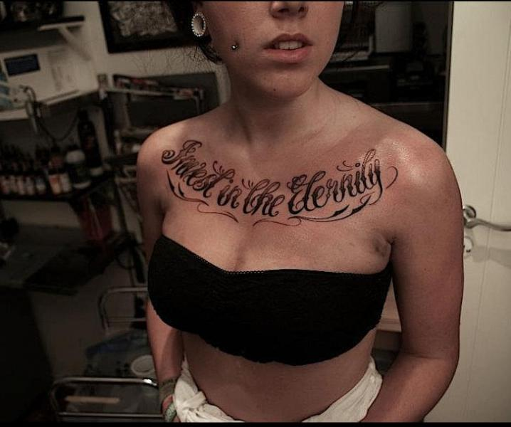 Lettering Breast Fonts Tattoo by Løkka Tattoo Lounge
