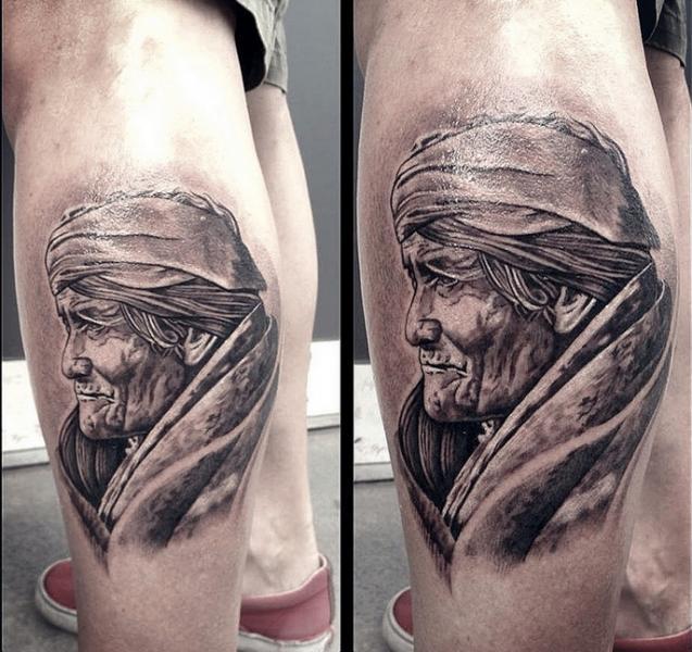 Portrait Realistic Calf Tattoo by Løkka Tattoo Lounge