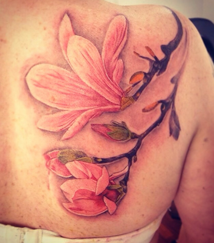 Shoulder Realistic Flower Tattoo by Løkka Tattoo Lounge