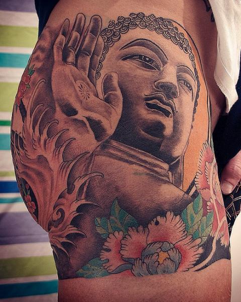 Side Japanese Buddha Butt Tattoo by Løkka Tattoo Lounge