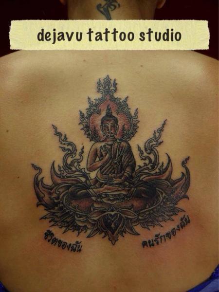 Buddha Back Religious Tattoo by Dejavu Tattoo Studio