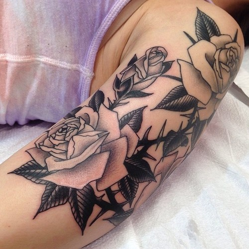 Shoulder Arm Flower Rose Tattoo by Marc Nava