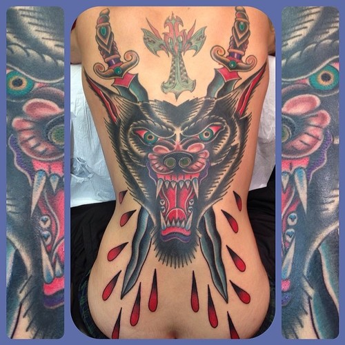 New School Back Wolf Dagger Blood Tattoo by Marc Nava