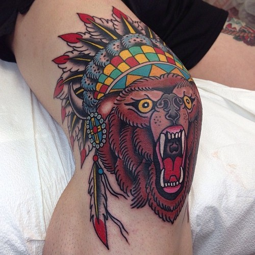 New School Leg Bear Indian Tattoo by Marc Nava