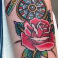 New School Rose Compass tattoo by Marc Nava