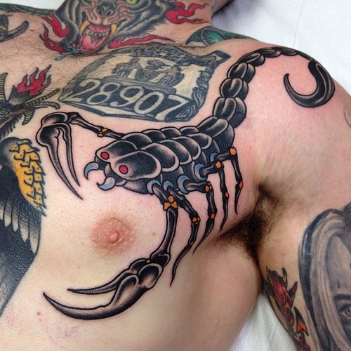 Shoulder New School Chest Scorpion Tattoo by Marc Nava