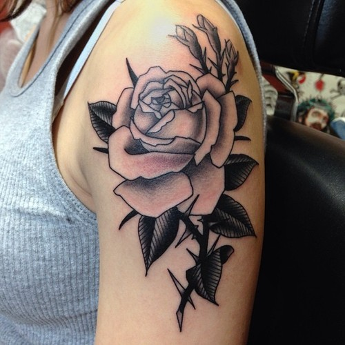 Shoulder Old School Flower Tattoo by Marc Nava