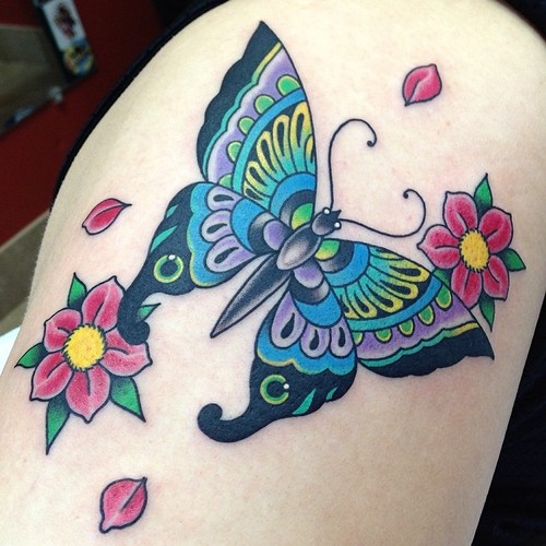 Shoulder New School Butterfly Tattoo by Marc Nava