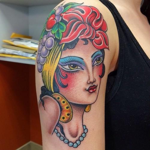 Shoulder New School Gypsy Tattoo by Marc Nava
