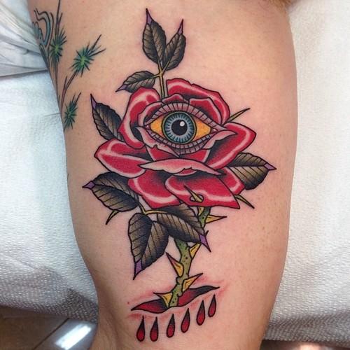 New School Flower Eye Rose Thigh Tattoo by Marc Nava