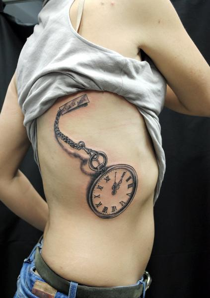 Realistic Clock Side Tattoo by Nazo