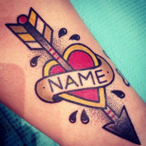 Arm Old School Heart Lettering Arrow Tattoo By Destroy Troy