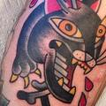 Arm Old School Panther tattoo by Destroy Troy Tattoos