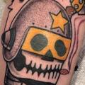 Arm Old School Skull Helmet tattoo by Destroy Troy Tattoos