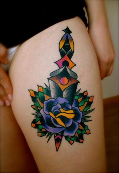 Old School Flower Dagger Thigh Tattoo by Destroy Troy Tattoos