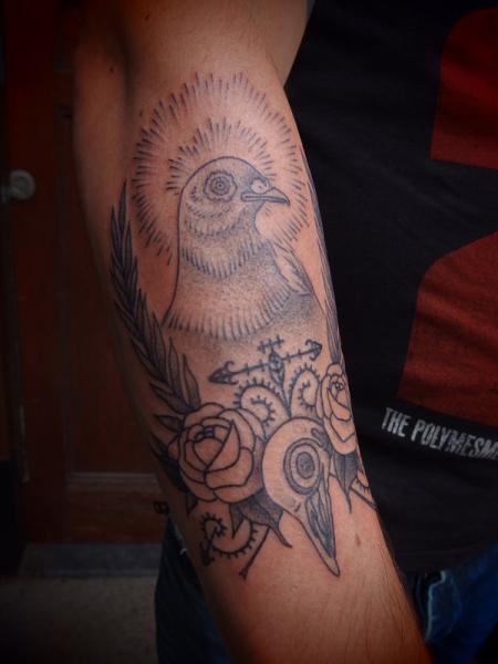 Arm Dove Tattoo by Papanatos Tattoos