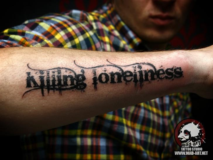 Arm Lettering Tattoo by Mad-art Tattoo