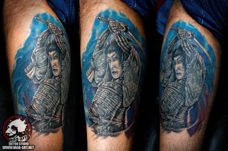 Leg Japanese Samurai Tattoo by Mad-art Tattoo