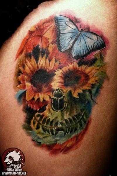 Flower Skull Butterfly Tattoo by Mad-art Tattoo