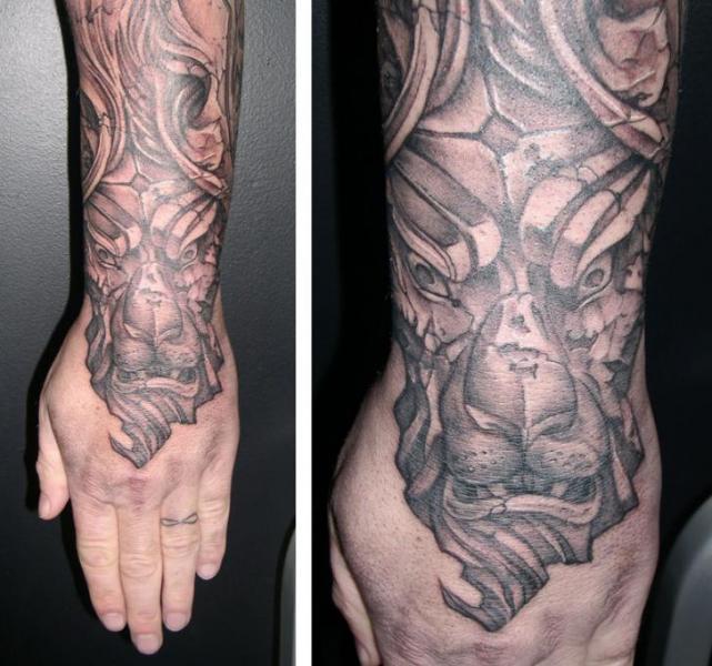 Arm Fantasy Lion Tattoo by Obsidian