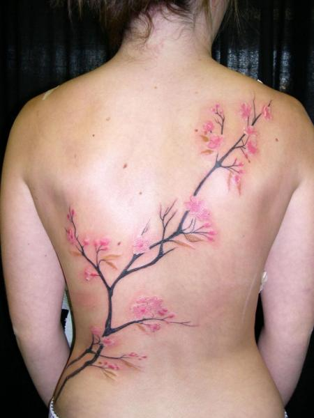 Realistic Flower Back Tattoo by Obsidian