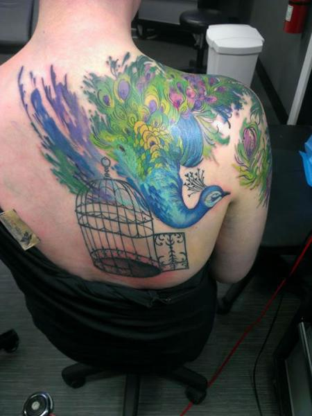 Shoulder Peacock Back Cage Tattoo by Obsidian