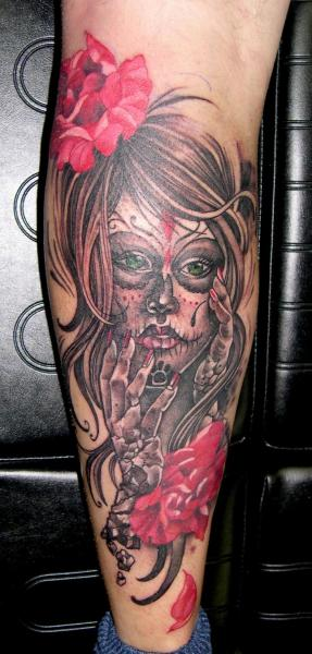 Calf Mexican Skull Tattoo by Obsidian