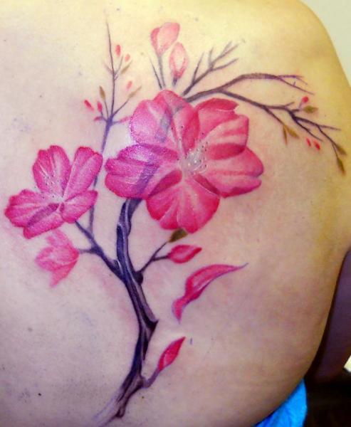Schulter Blumen Kirsche Tattoo von Obsidian