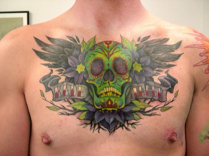 Brust Totenkopf Tattoo von Obsidian