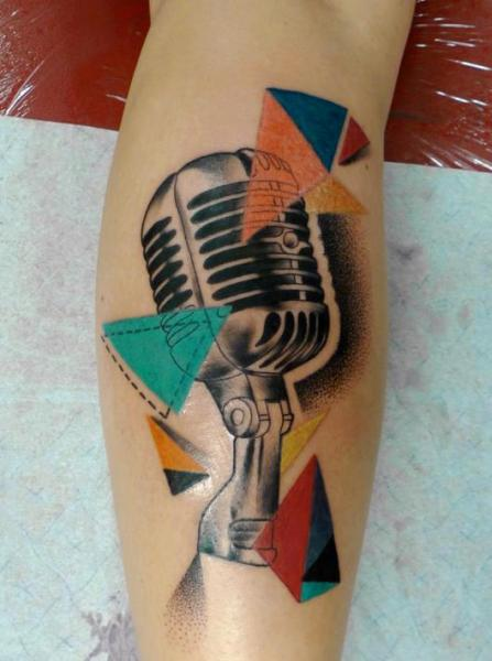 Arm Realistic Microphone Tattoo by Gulestus Tattoo