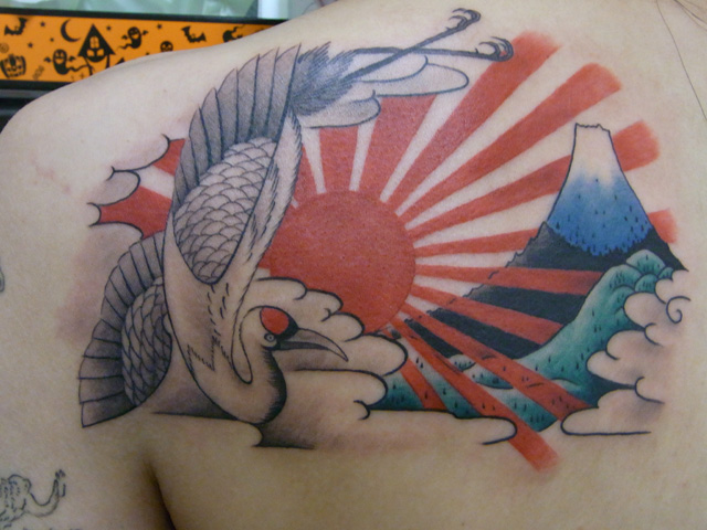Back Sun Mountain Tattoo by Daichi Tattoos & Artworks