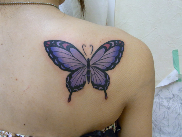 Realistic Back Butterfly Tattoo by Daichi Tattoos & Artworks
