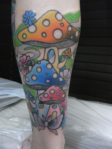 Fantasy Calf Mushroom Tattoo by Daichi Tattoos & Artworks