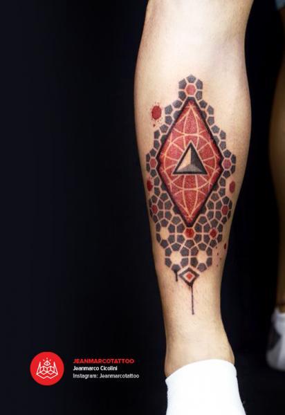 Calf Dotwork Tattoo by 2vision Estudio