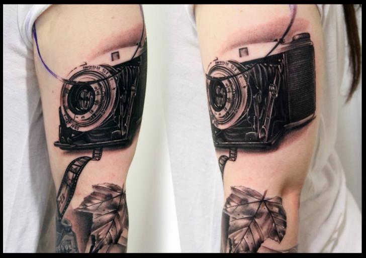 Arm Realistic Camera Tattoo by Da Silva Tattoo
