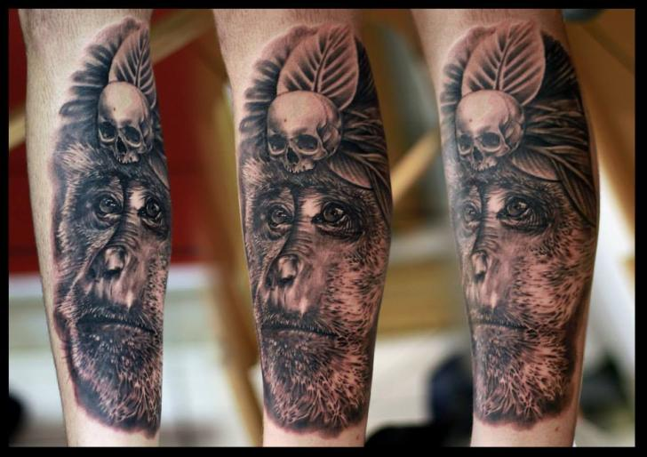 Arm Realistic Monkey Tattoo by Da Silva Tattoo