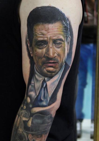 Arm Portrait Realistic De Niro Tattoo by Da Silva Tattoo