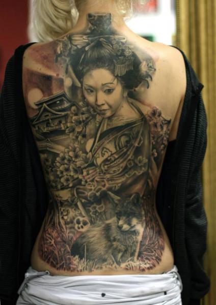 Japanese Back Geisha Tattoo by Da Silva Tattoo