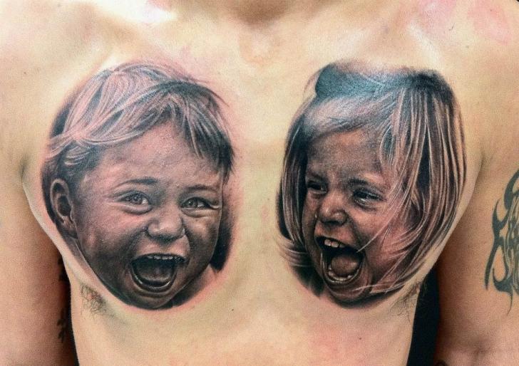 Portrait Realistic Chest Children Tattoo by Da Silva Tattoo