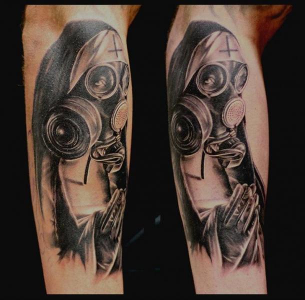 128e211eedf3c Arm Gas Mask Nun Tattoo by Da Silva Tattoo