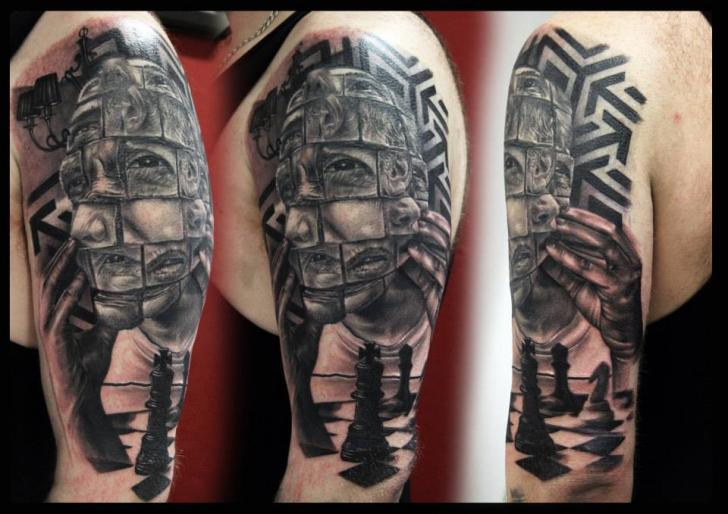 Shoulder Fantasy Chess Tattoo by Da Silva Tattoo