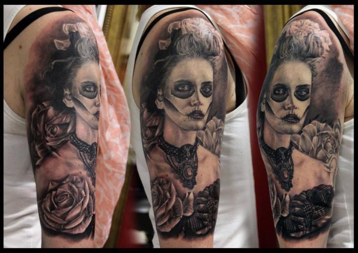 schulter mexikanischer totenkopf tattoo von da silva tattoo. Black Bedroom Furniture Sets. Home Design Ideas